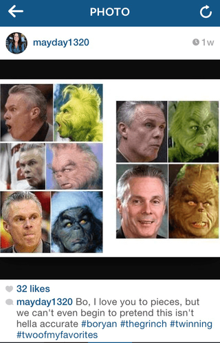 Images of Bo Ryan next to images of the Grinch